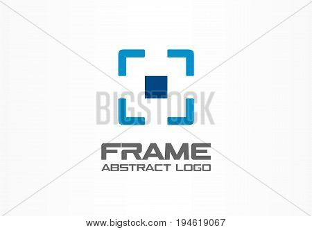 Abstract logo for business company. Corporate identity design element. Camera focus, frame center, crosshair logotype idea. Photo studio, square goal, target zoom concept. Colorful Vector icon