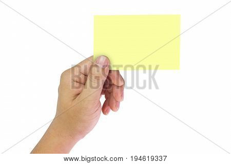 Hand holding yellow space notes on isolate white background.
