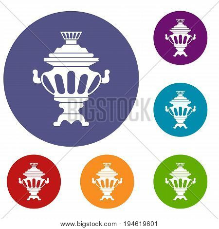 Russian tea samovar icons set in flat circle reb, blue and green color for web