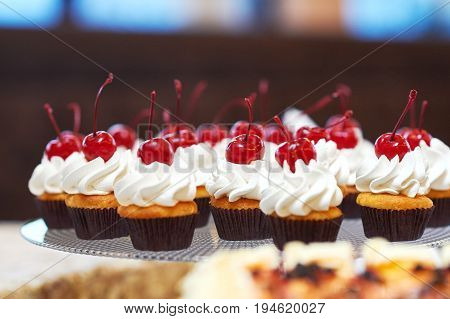 Shot of cupcakes with cream and cherries on top food tasty delicious dessert sweet sugar creamy berries restaurant cafe.