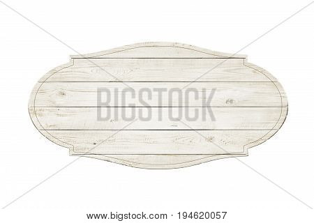 Wooden sign label isolated over white background