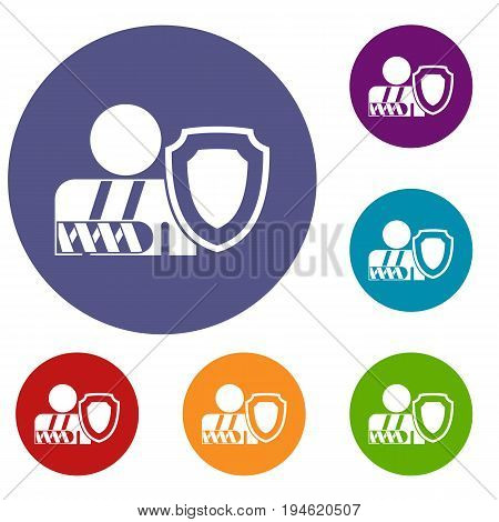Broken arm and safety shield icons set in flat circle reb, blue and green color for web