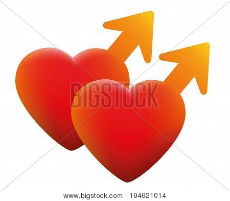 Hot gay love symbol - two hearts with fire red male icons - isolated vector illustration on white background.