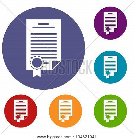 Contract icons set in flat circle reb, blue and green color for web