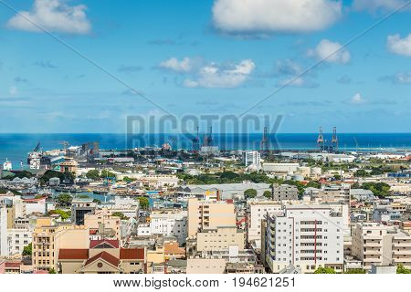 Port Louis Mauritius - December 25 2015: Port Louis Skyline - viewed from the fort Adelaide along the Indian Ocean in Mauritius capital city. Travel in Mauritius.