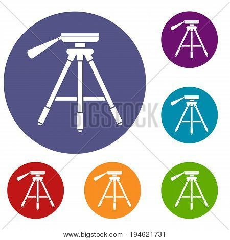 Tripod icons set in flat circle reb, blue and green color for web