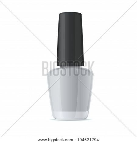 Blank Nail Polish Bottle. Mockup Template on White Background. Vector Illustration.