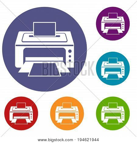 Printer icons set in flat circle reb, blue and green color for web