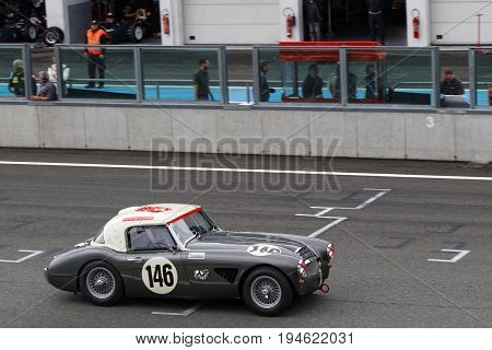 Magny-cours, France, June 30, 2017 : Austin Healey During Three Hours Race. The First French Histori