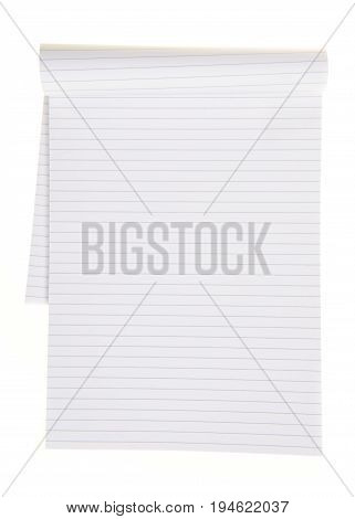 Empty office or school notebook with lines isolated on a white background