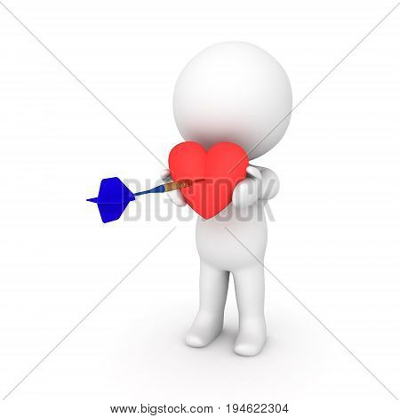 3D Character Holding Red Heart Which Is Being Hit By Dart