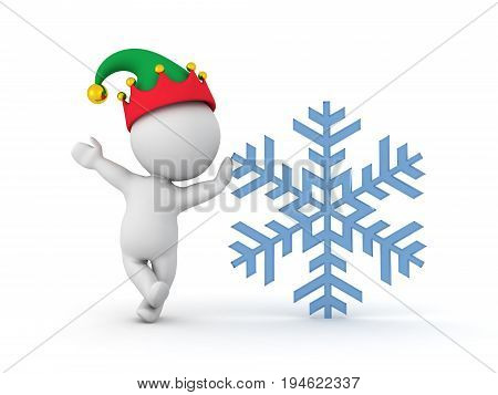 3D Character Wearing Elf Hat Leaning On Snow Flake
