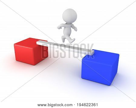 3D Character Crossing Narrow Path From A Red Box To A Blue Box