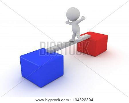 3D Character Losing His Balance While Crossing A Plank Between Two Boxes