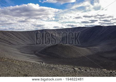 Hverfjall Volcanic Crater Near Lake Myvatn In Iceland, One Of The Largest Volcanic Craters In The Wo