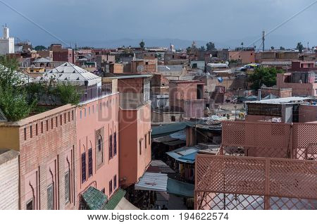 Roof Views Of Marrakech Old Medina City, Morocco
