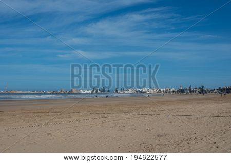 View To Essaouira Medina Rampant And Ocean From Sand City Beach, Morocco