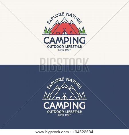 Camping logo set color and line style consisting of mountains, tent, fire and trees for travel badge, tourist symbol, explore emblem, expedition label, hiking sticker, climbing, poster, kids camp