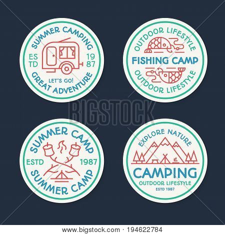 Camping logo set color line style consisting of tent, fish, fire, camper, mountains, trees for tourist symbol, explore emblem, travel badge, expedition label, t shirt print, poster, banner, kids camp