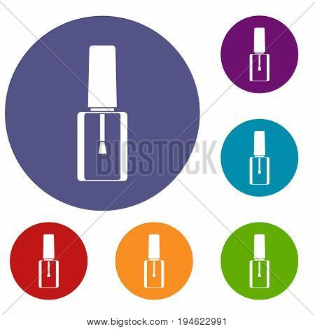 Nail polish bottle icons set in flat circle reb, blue and green color for web