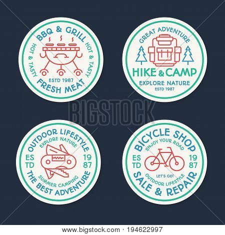 Camping logo set line color style consisting of backpack, bicycle, barbecue, grill, trees for tourist symbol, explore emblem, travel badge, expedition label, t shirt print, poster, banner, kids camp