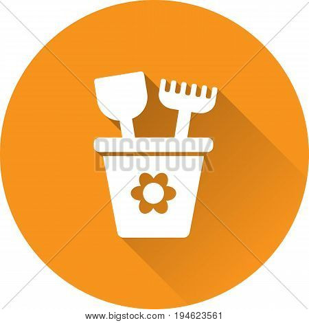 Bucket baby icon. Vector. White pail with shovel and rake on orange background. Baby shower simple symbol in flat design with long shadow.