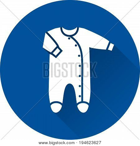 Bodysuit icon. Vector. Baby overall on blue background. Baby shower simple symbol of romper in flat design with long shadow.