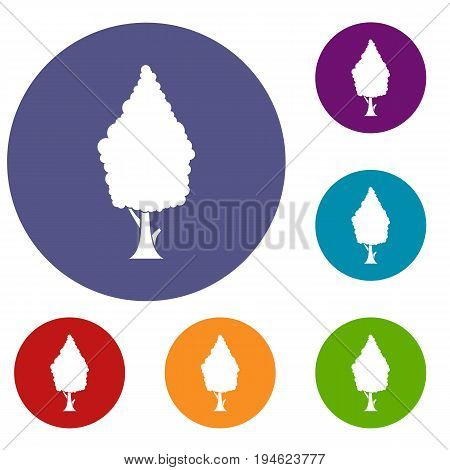 Cypress icons set in flat circle reb, blue and green color for web