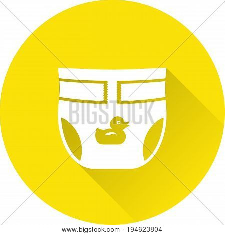 Diaper baby icon. Vector. Disposable nappy on yellow background. Baby shower simple symbol in flat design with long shadow.