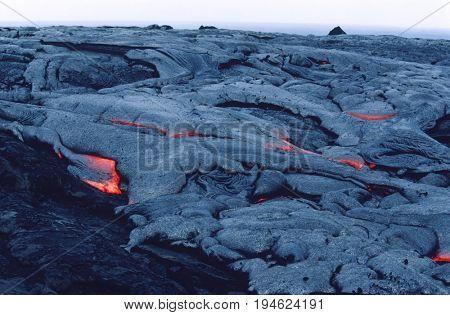 USA, Hawaii, Big Island, Volcanos National Park, cooling lava