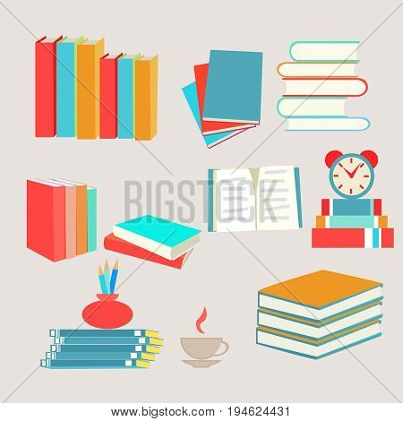 studying vector books set icon in flat design style collection Books icons set. Dictionary and literature textbook for school vector icons for web