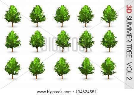 3D Summer Set Tree Collection Object Isolated On White Volume 2