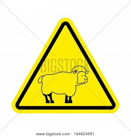 Attention Of Sheep. Caution Farm Is An Animal. Yellow Prohibitory Road Sign. Ban Ewe