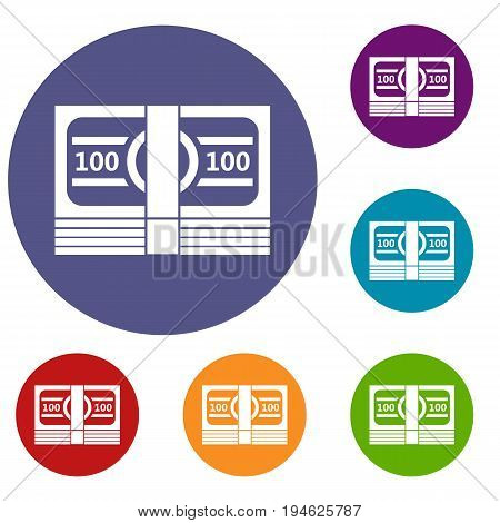 Bundle of money icons set in flat circle reb, blue and green color for web