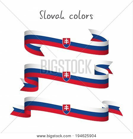 Set of three modern colored vector ribbon with the Slovak tricolor isolated on white background abstract Slovak flag Made in Slovakia logo