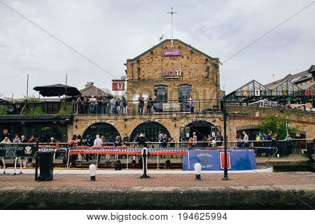 UK London - 08 April 2015: The Camden Market in London England. Camden is the fourth most popular visitor attraction in London.
