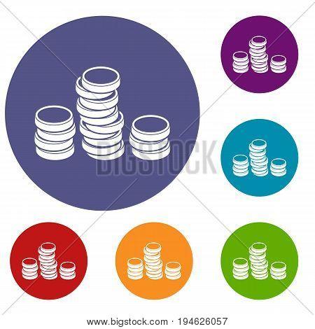 Gold coins icons set in flat circle reb, blue and green color for web