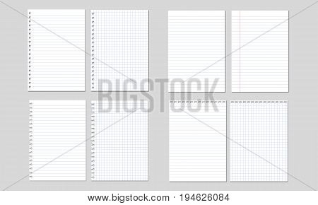 Set of vector illustrations of sheets of paper lined and square isolated on white background