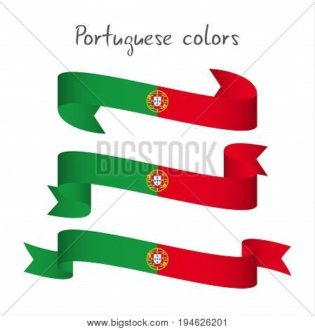 Set of three modern colored vector ribbon with the Portuguese colors isolated on white background abstract Portuguese flag Made in Portugal logo