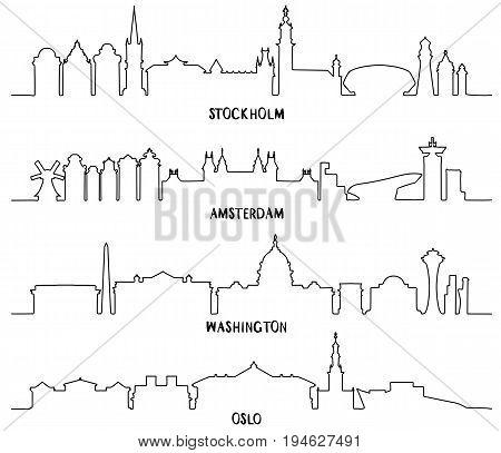 Line art, Skyline with Historic Architecture, vector illustration. Stockholm, Amsterdam, Washington and Oslo