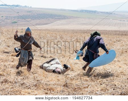 Tiberias Israel July 01 2017 : Participants in the reconstruction of Horns of Hattin battle in 1187 participate in the battle on the battlefield near Tiberias Israel