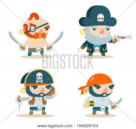 Pirate Buccaneer Filibuster Corsair Sea Dog Fantasy RPG Treasure Game Character Icons Flat Set Design Vector Illustration