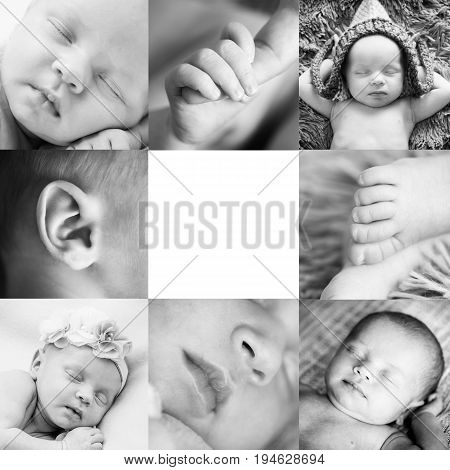 square collage of eight black and white macrophotographs of a sleeping newborn baby