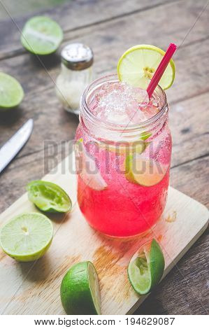 Red Lime Soda Soda beverage A mixture of Red nectar salt lemon and soda mixed together to refresh and quench thirst.