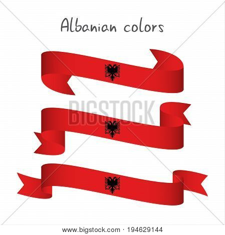 Set of three modern colored vector ribbon with the Albanian colors isolated on white background abstract Albanian flag Made in Albania logo