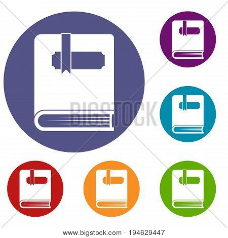 Thick book with bookmark icons set in flat circle reb, blue and green color for web