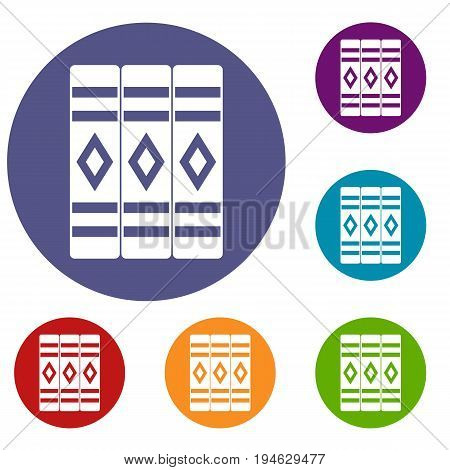 Three literary books icons set in flat circle reb, blue and green color for web