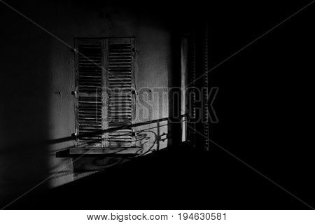 A window captured at nightime in Paris, France
