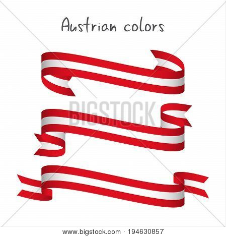 Set of three modern colored vector ribbon with the Austrian colors isolated on white background abstract Austrian flag Made in Austria logo