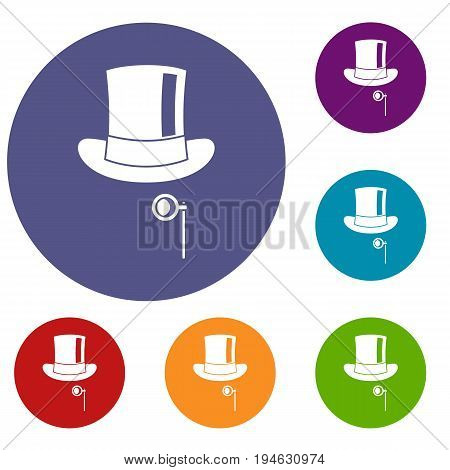 Hat with monocle icons set in flat circle reb, blue and green color for web